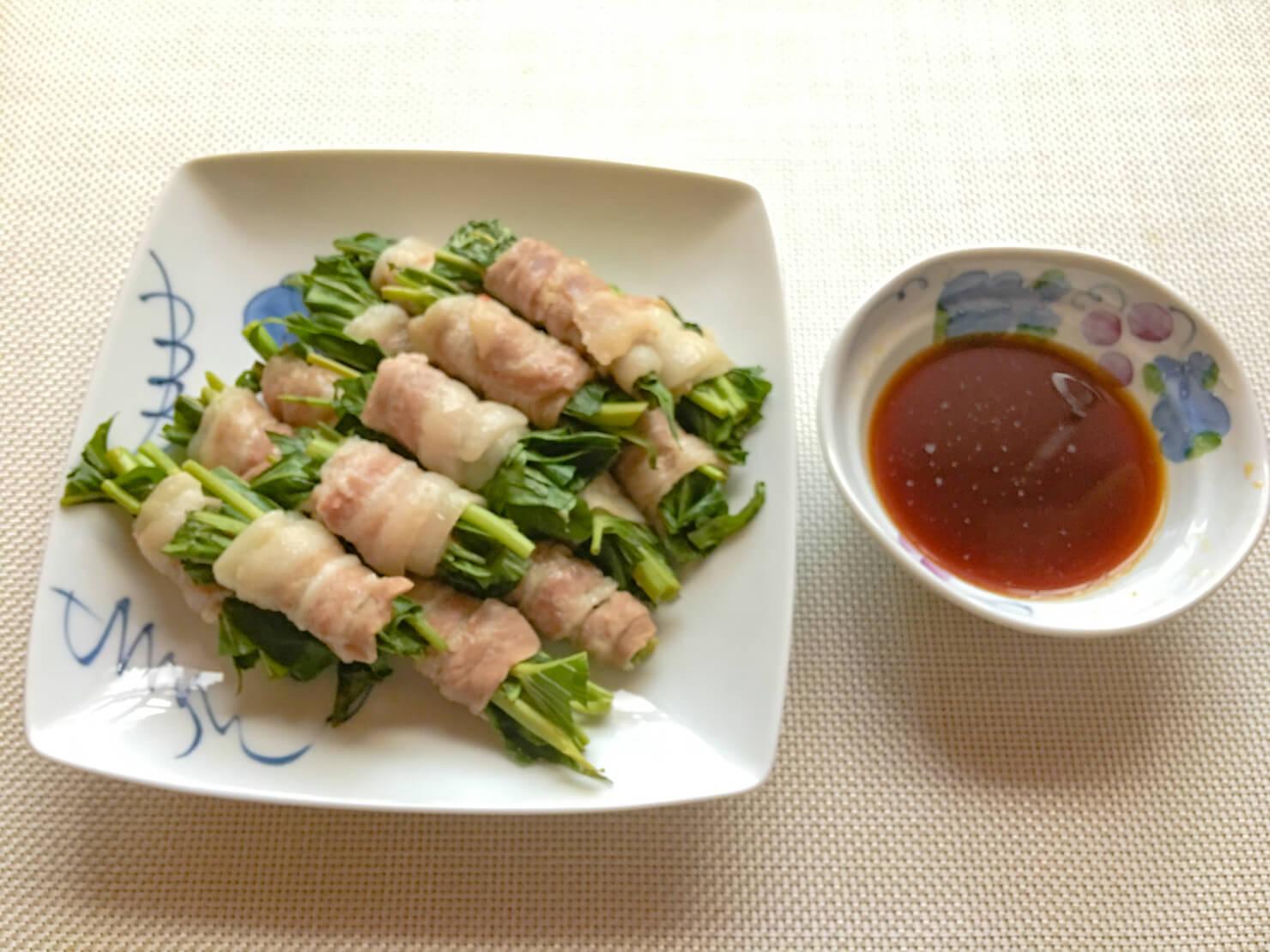 空芯菜の肉巻きの写真