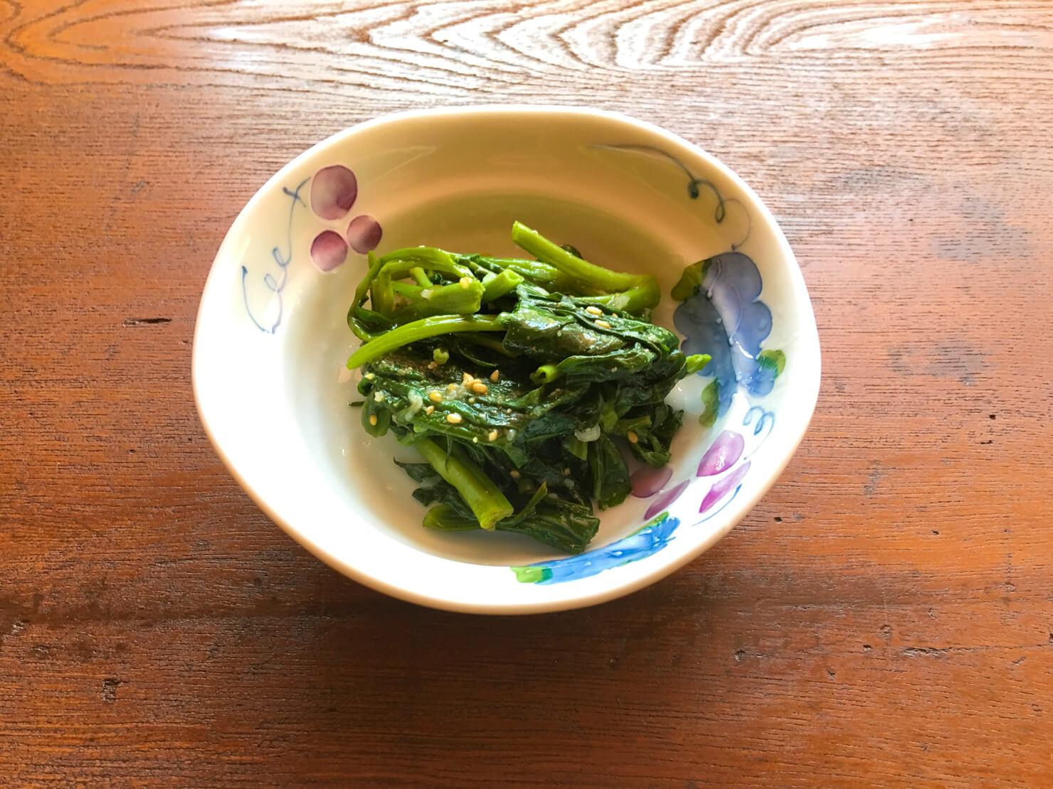 空芯菜のナムル、塩とごま油バージョンの写真