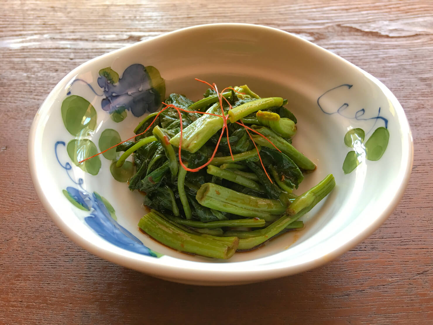 空芯菜のナムル、しょうゆと豆板醤バージョン写真