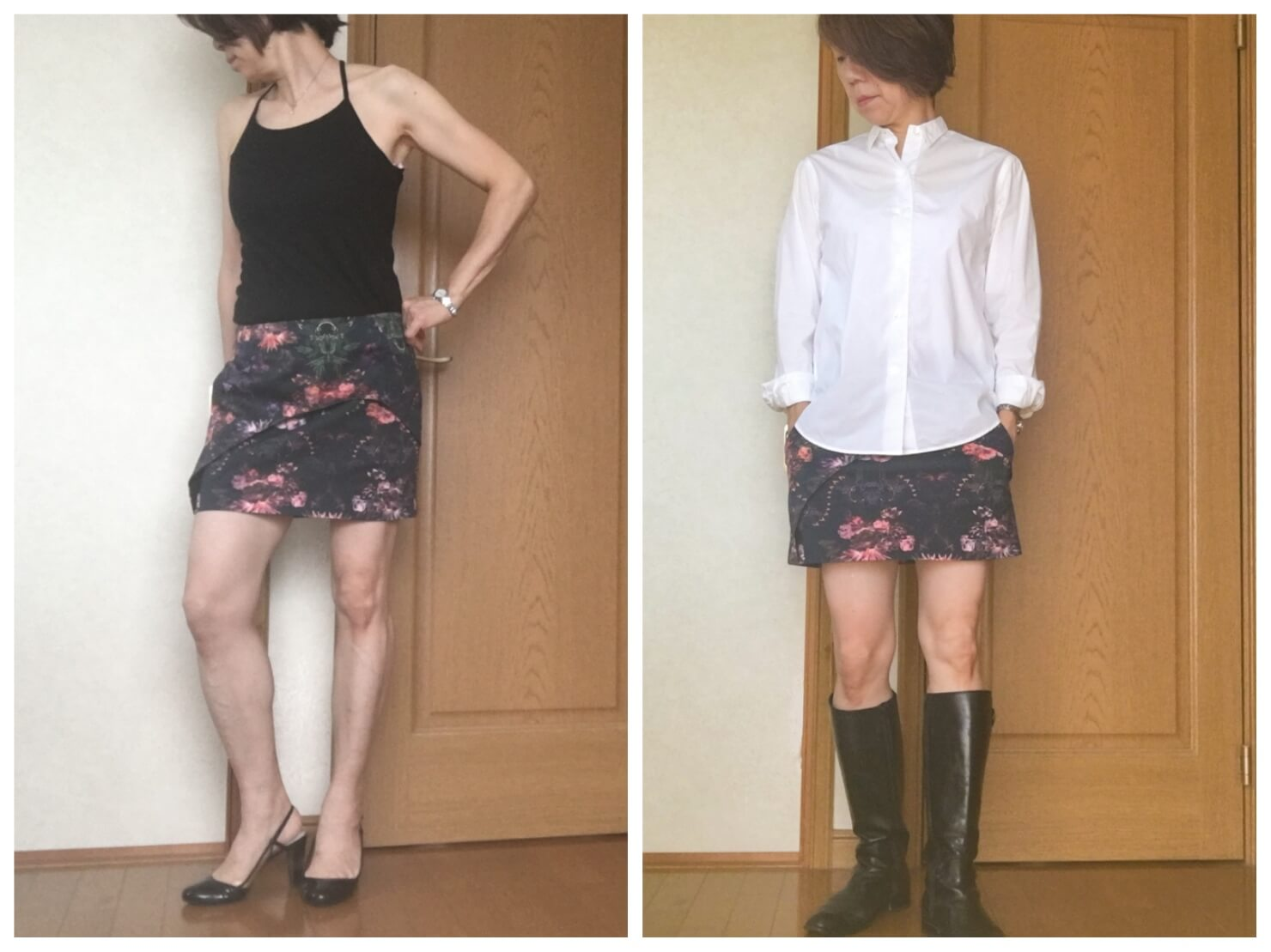 ミニスカートの痛いファッションと痛くないファッションの写真