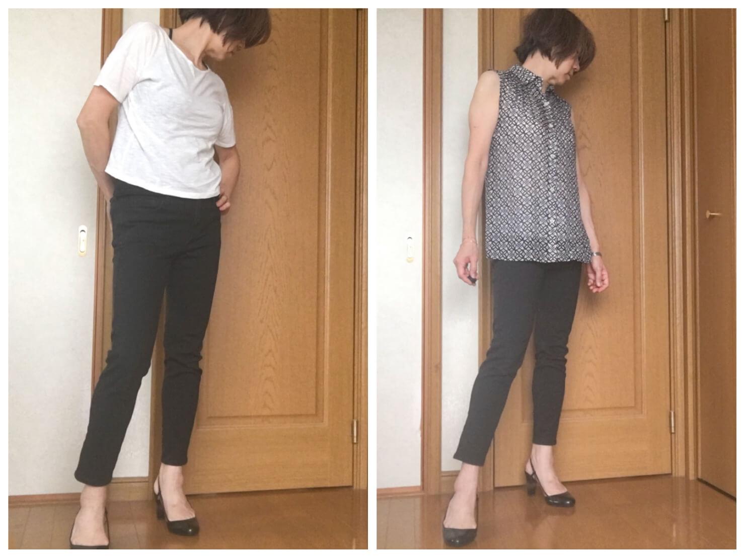 スキニーパンツの痛いファッションと痛くないファッションの写真