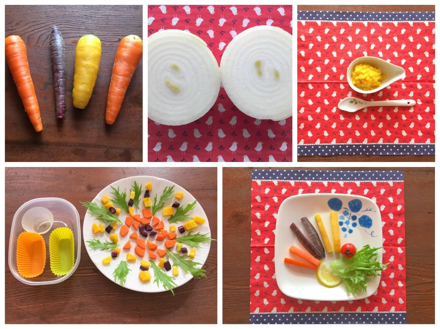 かわいい野菜料理の写真のコラージュ