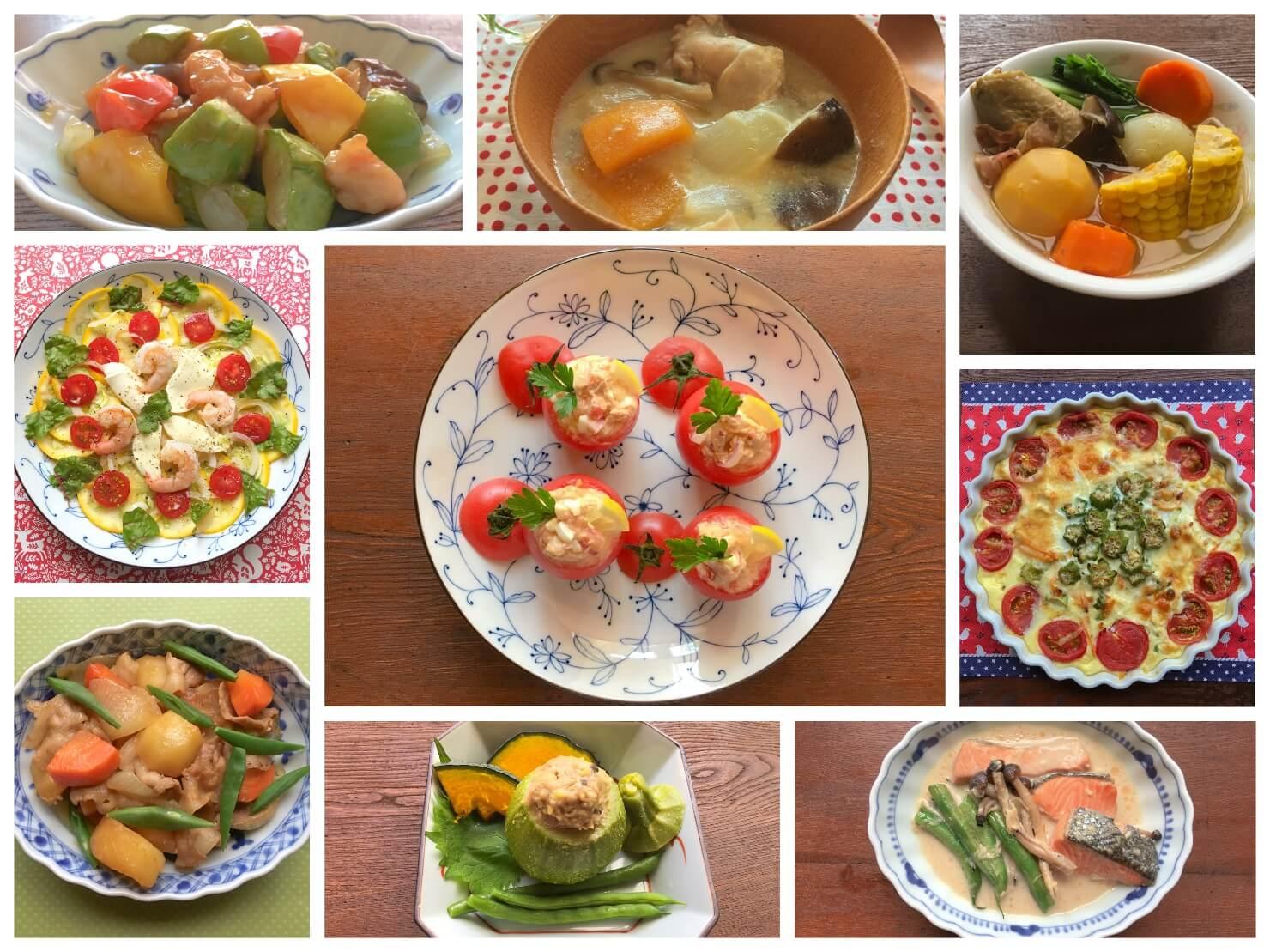 野菜料理の写真のコラージュ