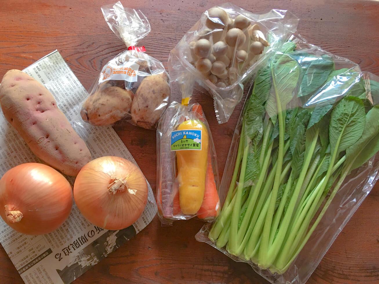 お試しセットに入っていた野菜の写真