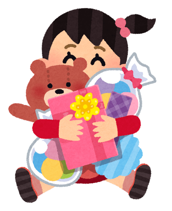 おもちゃを抱えて喜ぶ女の子のイラスト