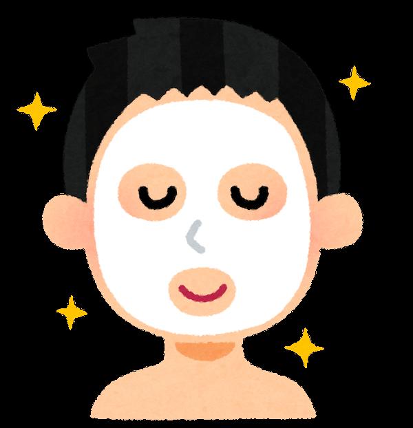 フェイスマスク型の化粧水を顔に貼り付けたイラスト