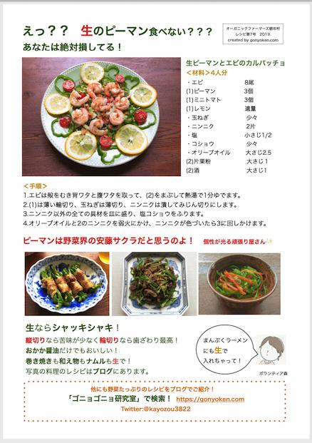 2019年7月ピーマンのレシピ