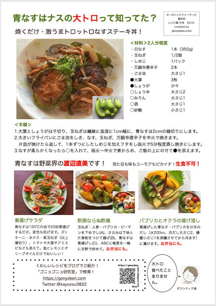 2019年8月青ナスのレシピ