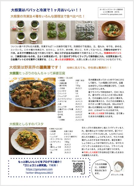 2019年11月大根の葉っぱのレシピ