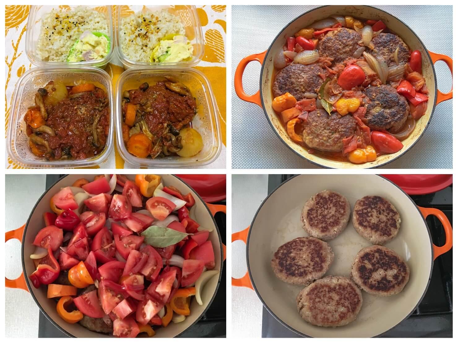 煮込みハンバーグと煮込みハンバーグのお弁当の写真