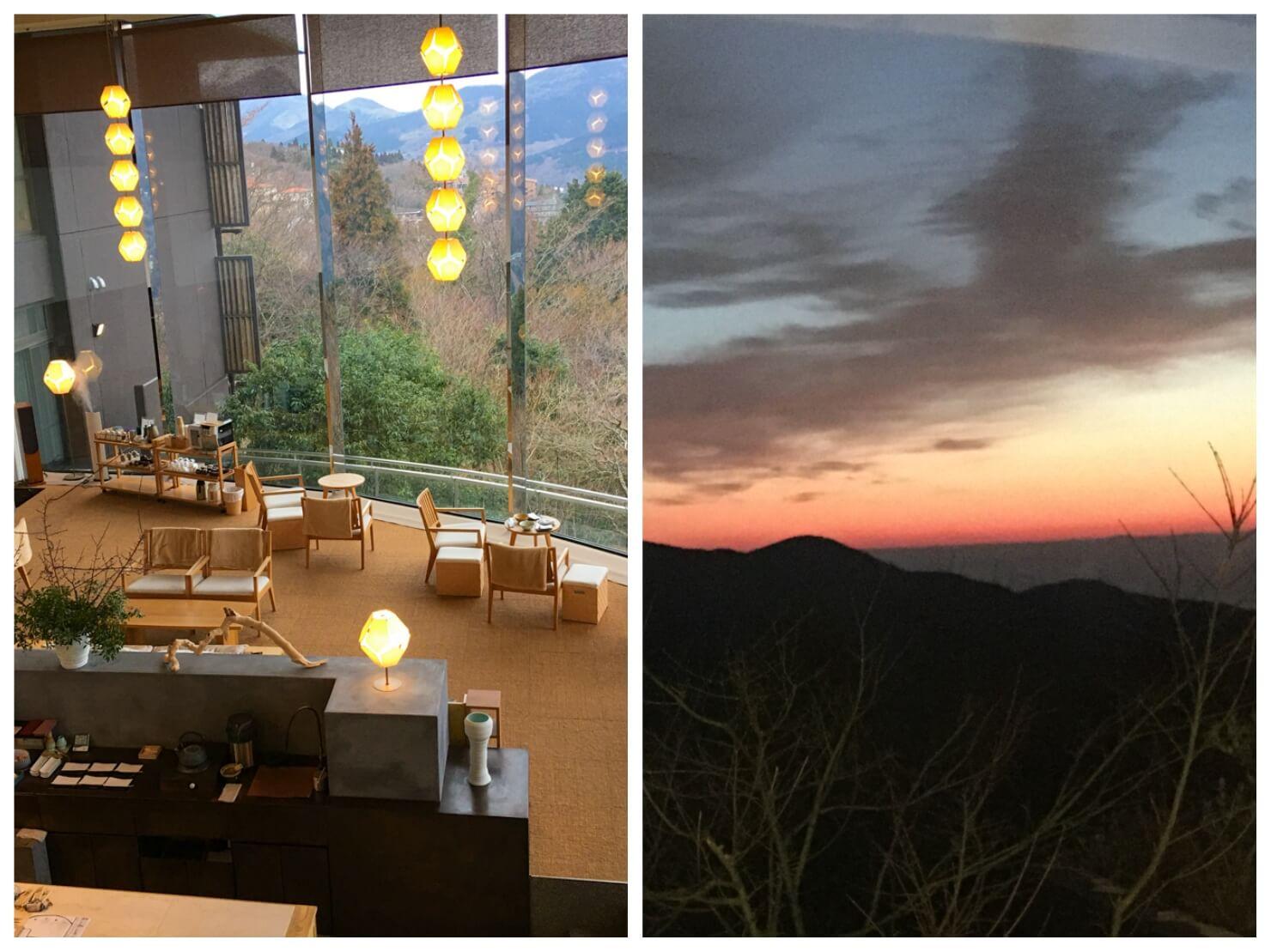 旅館のロビーや朝焼けの写真