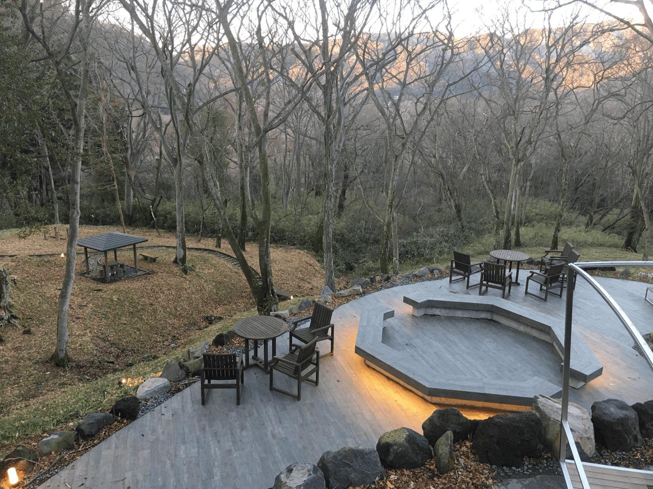 ライトアップされた金谷リゾート箱根の庭の写真