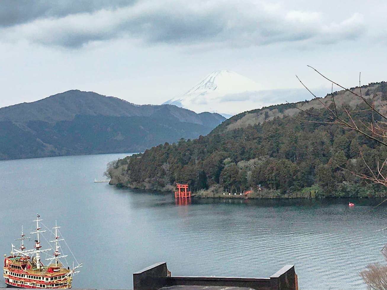 芦ノ湖と富士山の絶景の写真