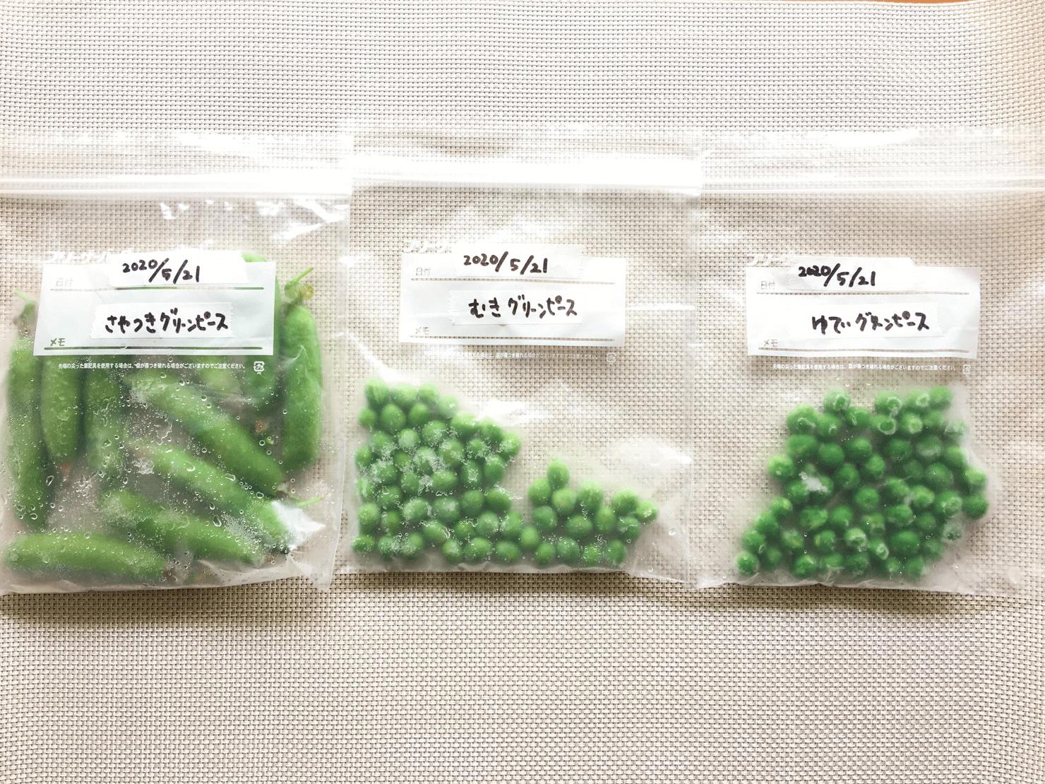 3種のグリーンピースの冷凍した写真