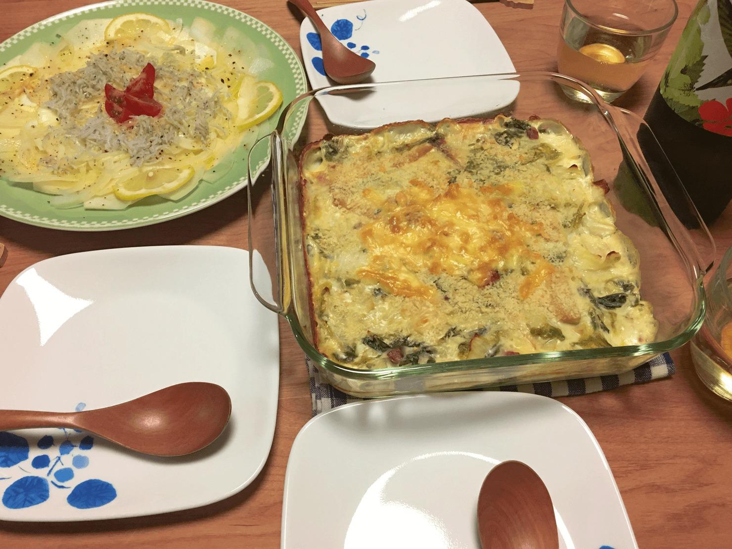 コールラビのカルパッチョ風サラダの日の晩ご飯の写真