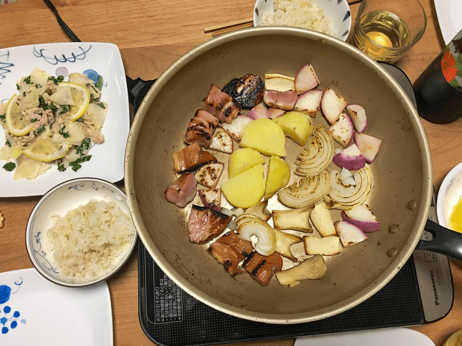 コールラビのツナレモンマヨサラダの日の晩ご飯の写真