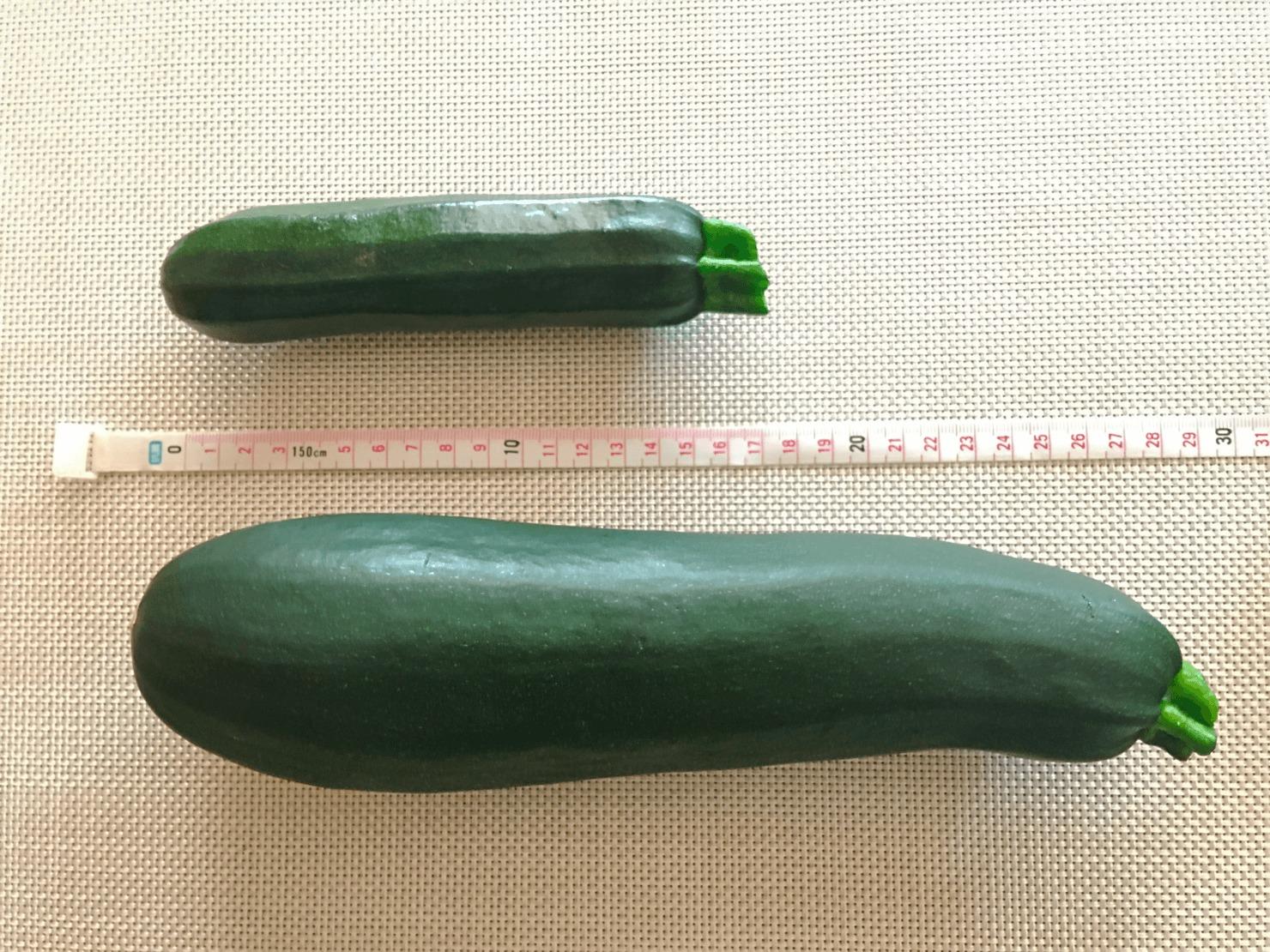 大きいズッキーニと普通のサイズのズッキーニの写真