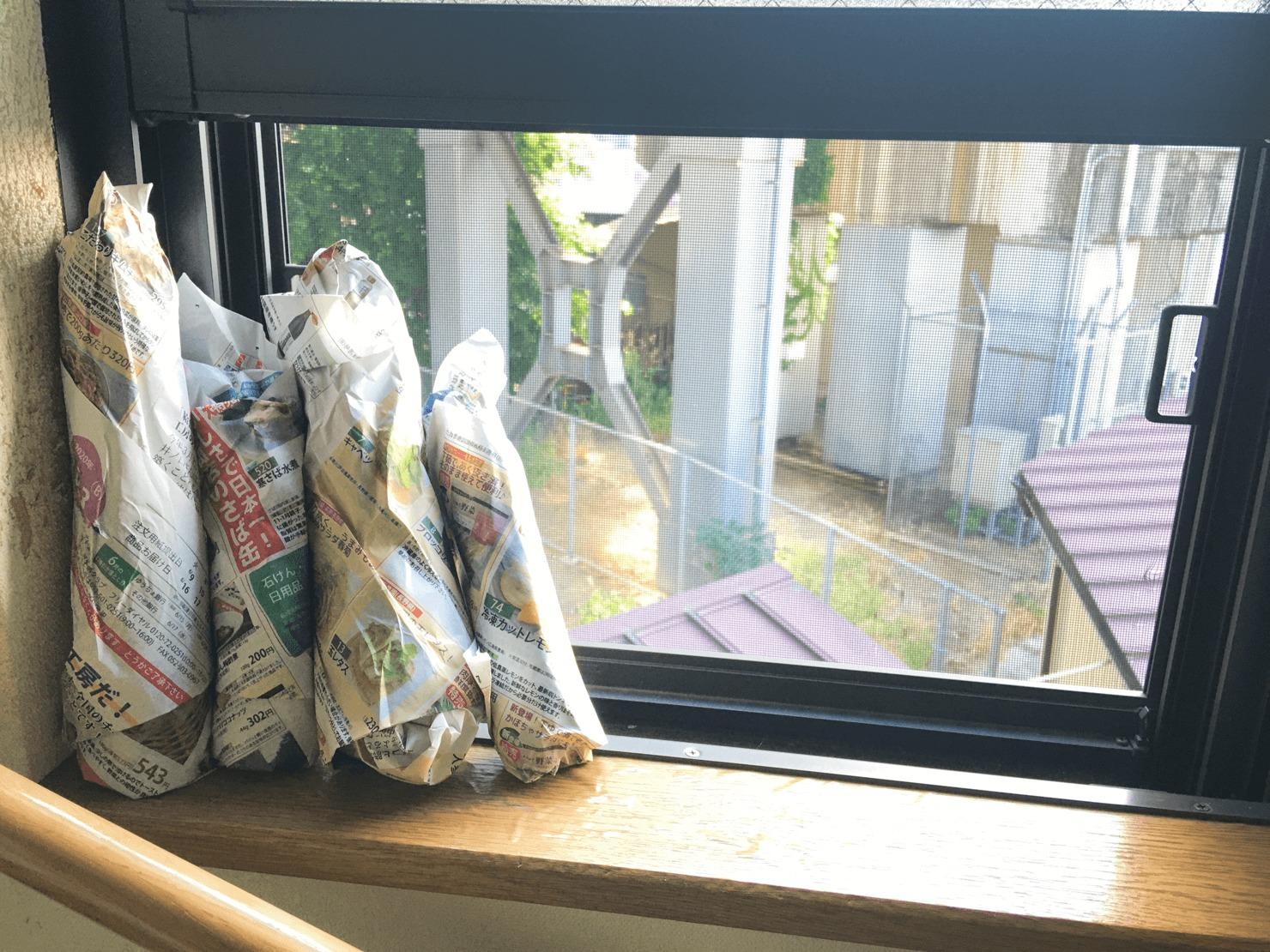 新聞紙に包んだズッキーニが窓辺に立ててある写真