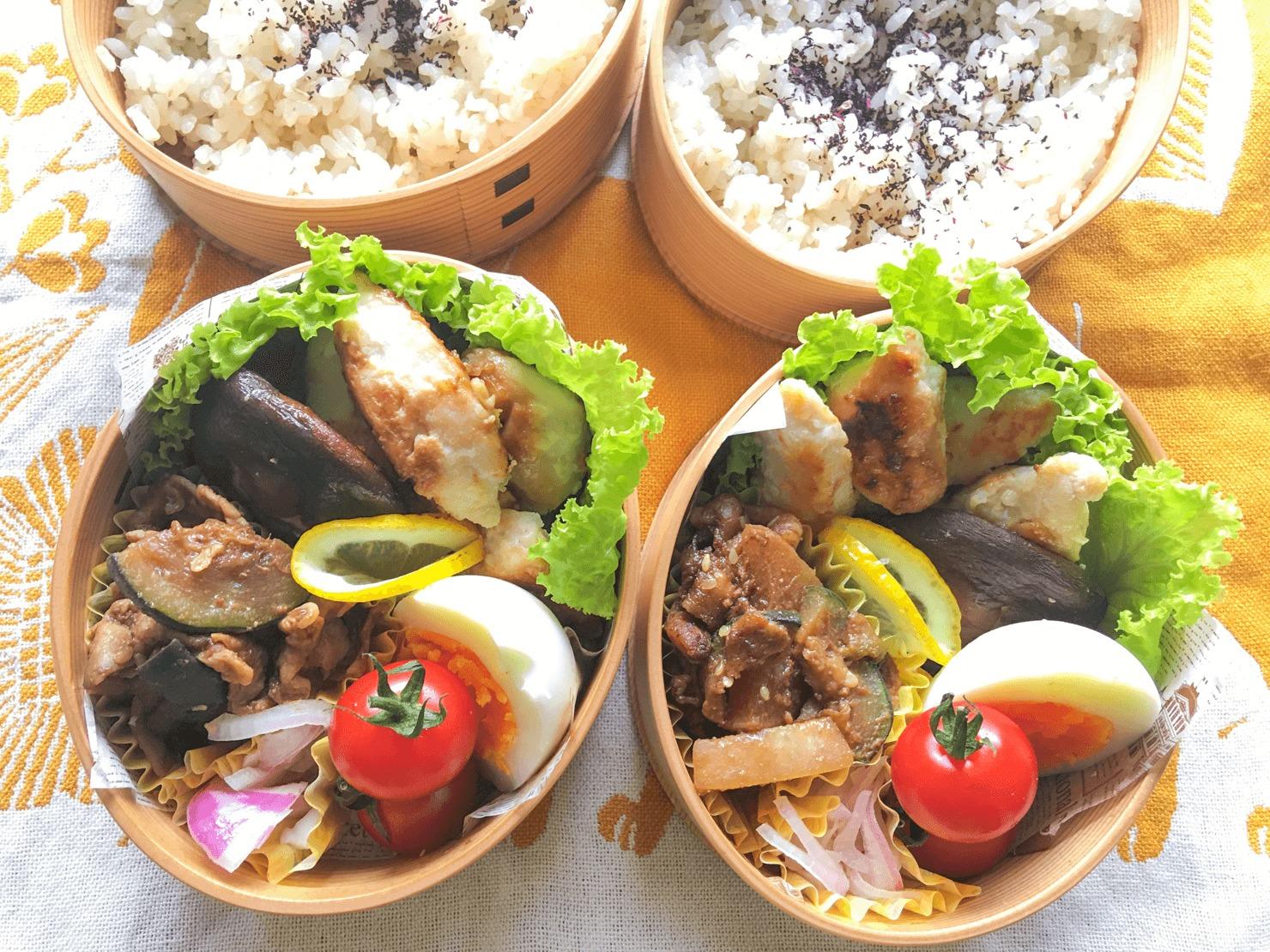 ズッキーニと大根と豚バラの甘辛みそ炒め入りのお弁当の写真
