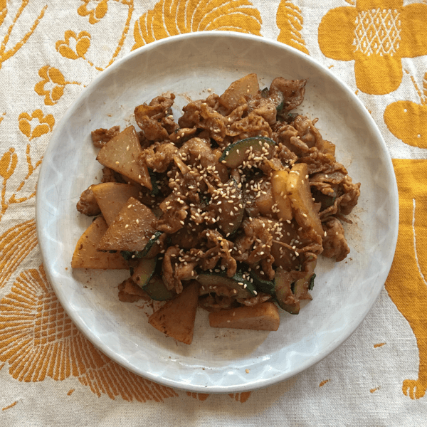 ズッキーニと大根と豚バラの甘辛みそ炒めの写真