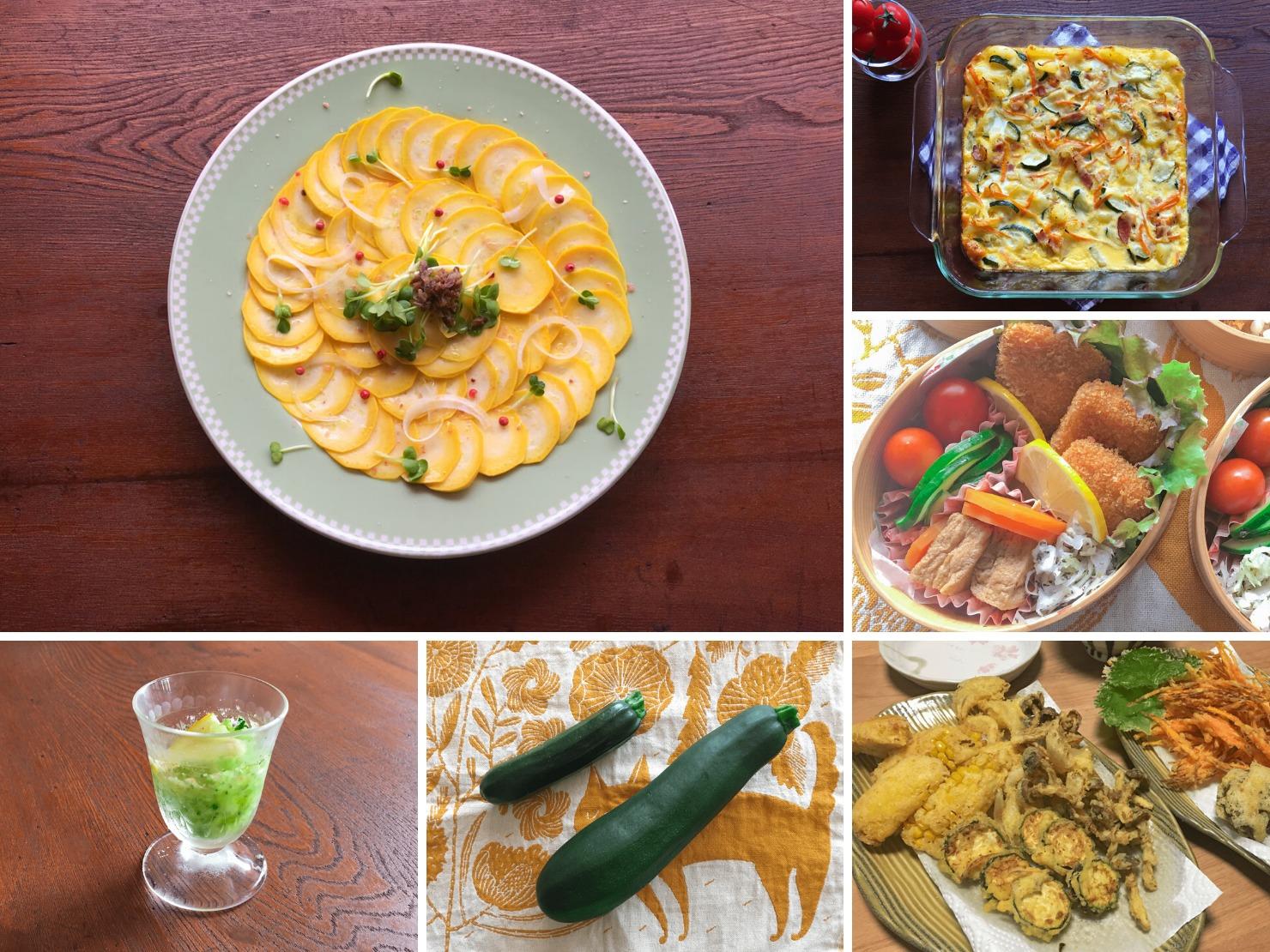 ズッキーニやズッキーニ料理の写真のコラージュ