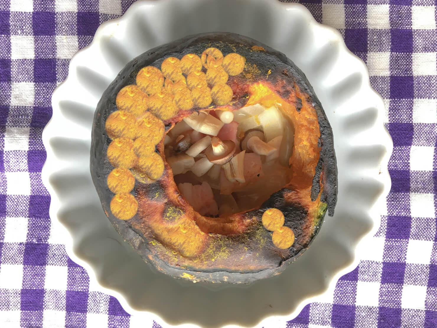 坊ちゃんかぼちゃの超簡単丸ごとチーズ焼きの写真の編集に失敗した写真