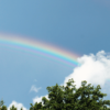青空に虹がかかっている写真