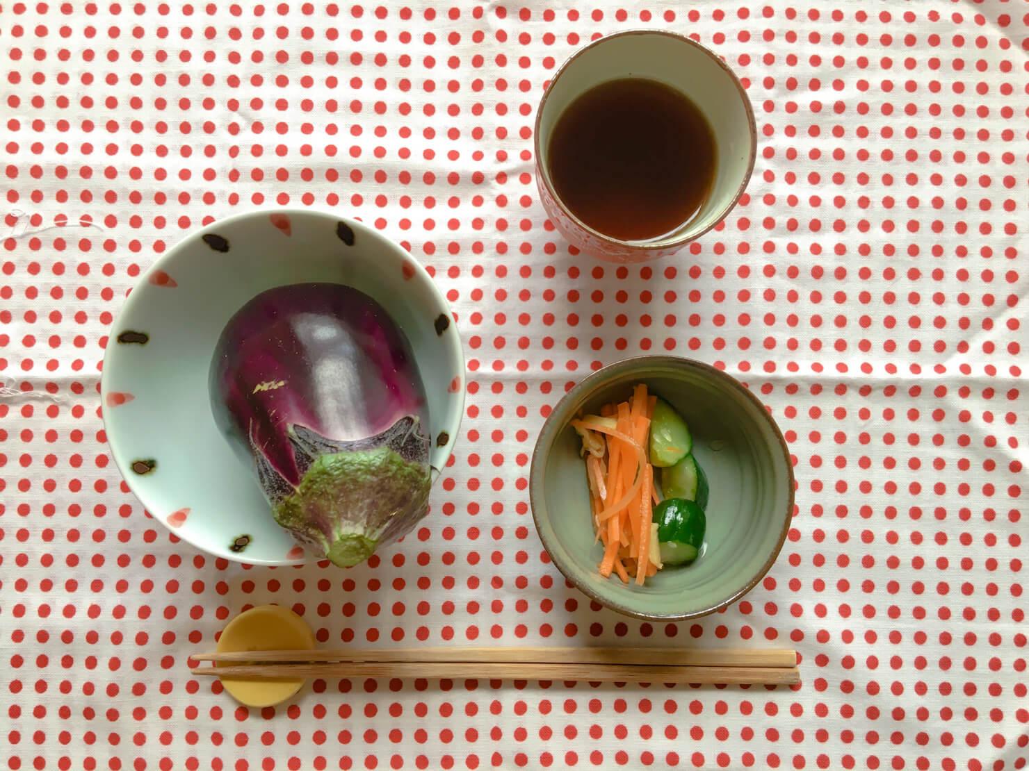 水ナスが主食の食卓の写真