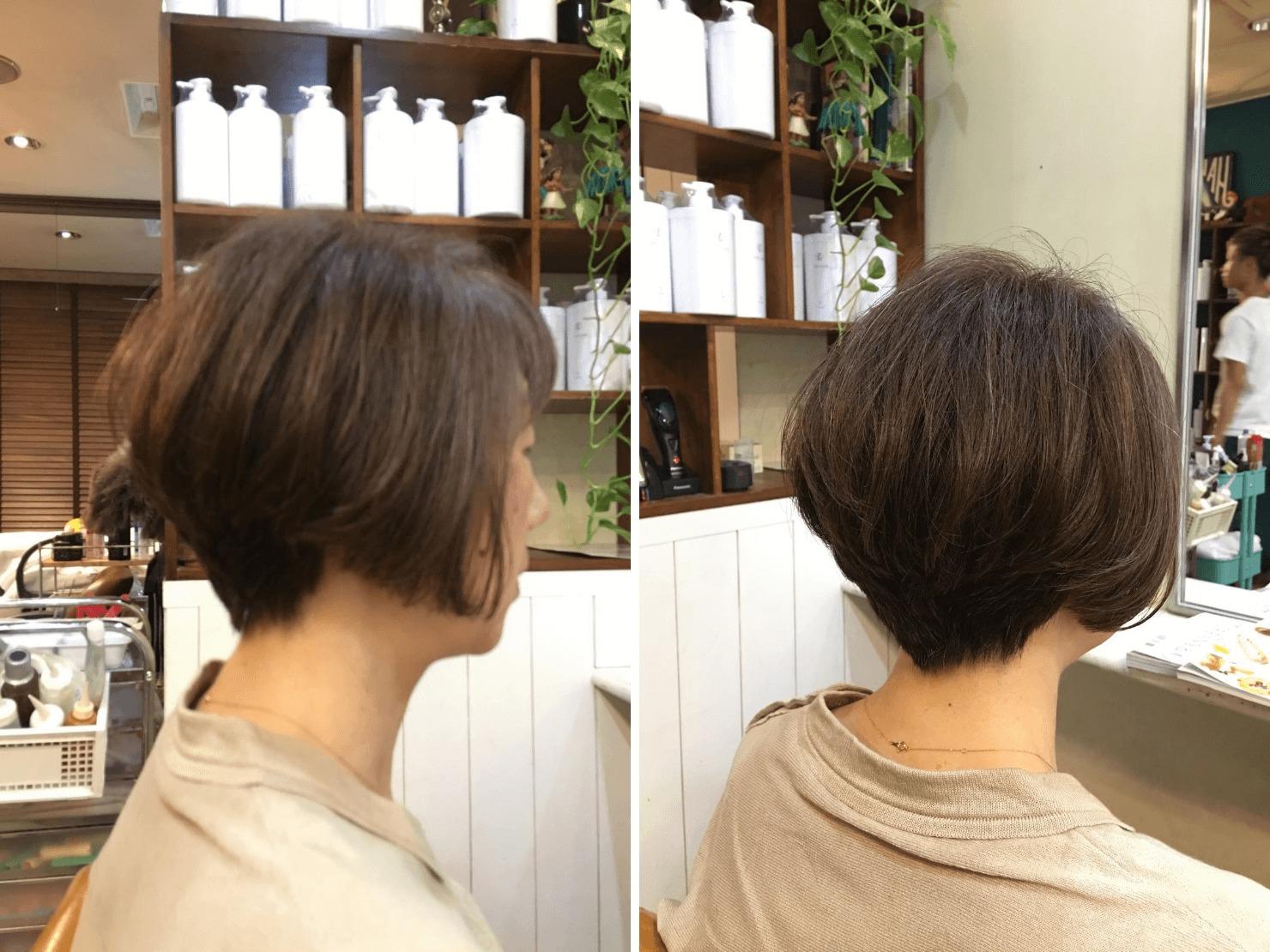 白髪染めをやめて1年半程度のグレイヘアの写真