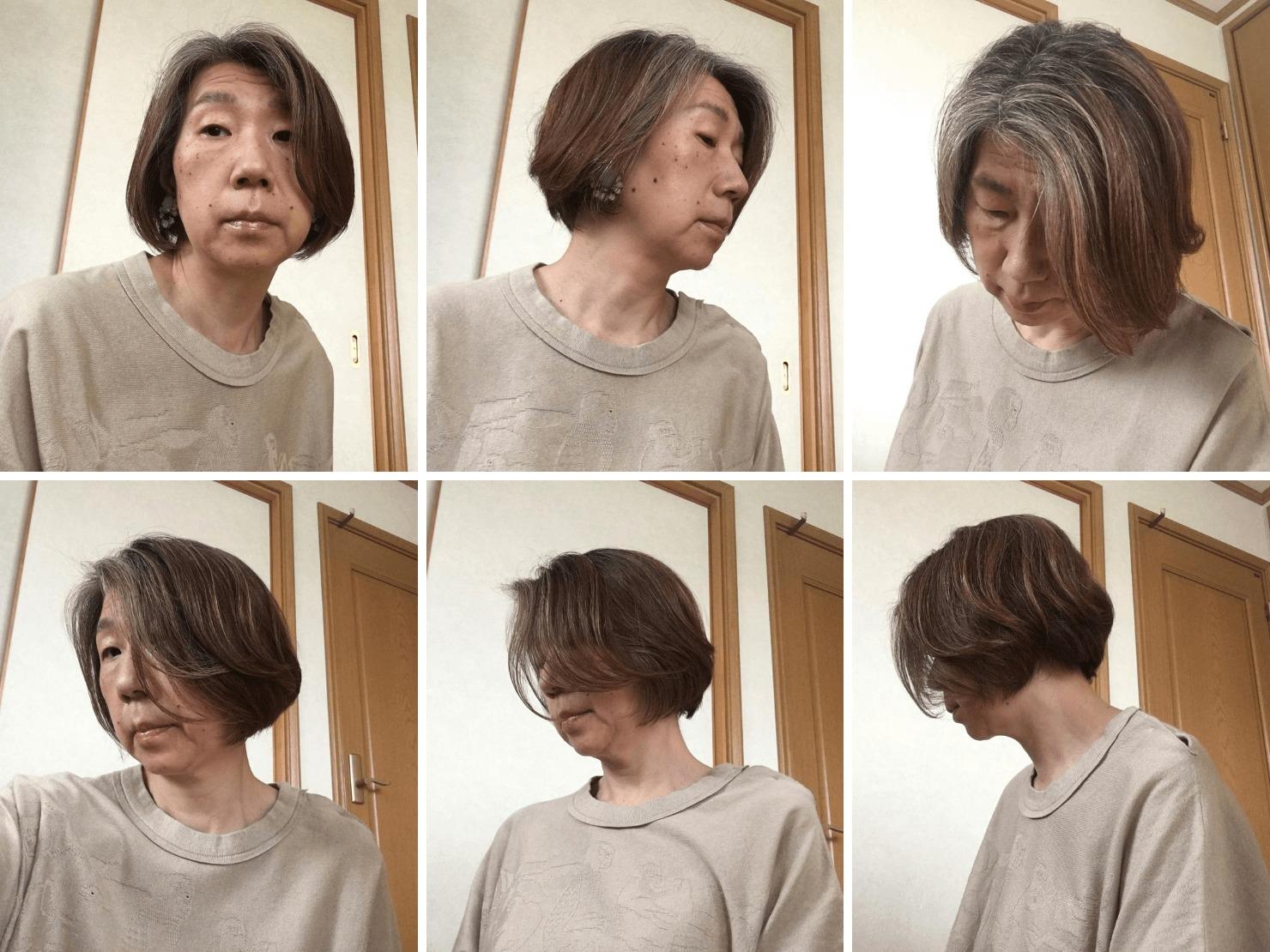 ガッツの白髪染めをやめて2年半程度のグレイヘアの写真