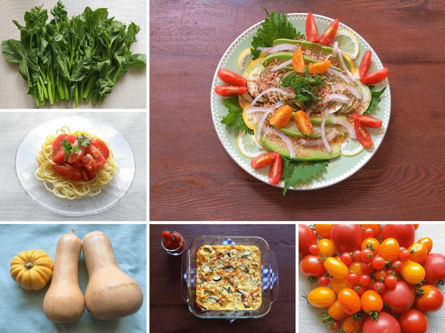 おいしそうな野菜と野菜たっぷりの料理の写真