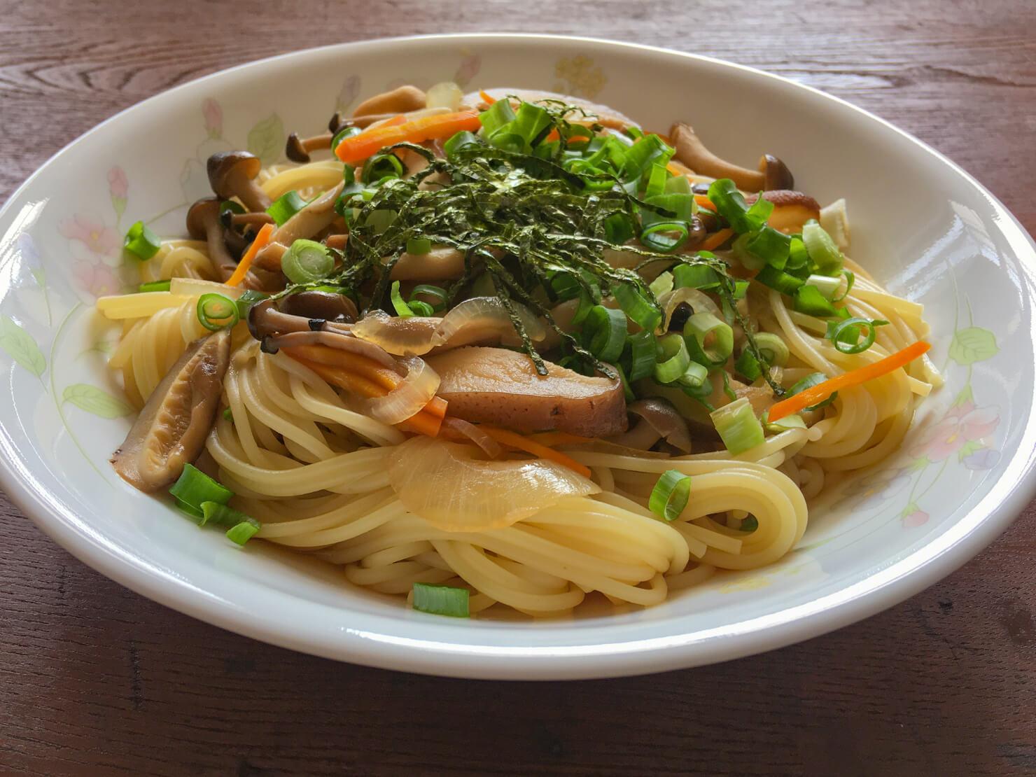 和風きのこスープパスタの写真