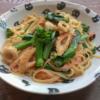 アンチョビ菜とちくわの和風にんにくパスタの写真