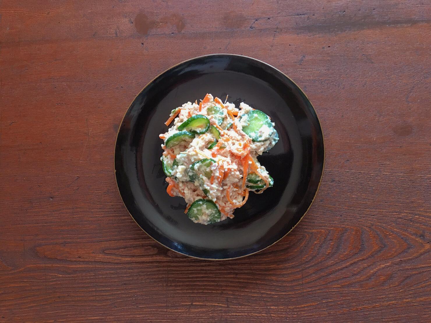 きゅうりと豆腐とツナの白和えの写真