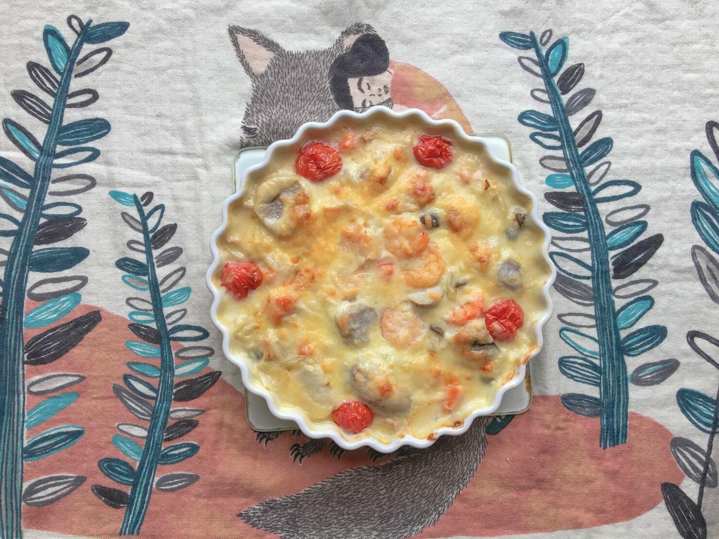 里芋のクリームシチューをリメイクしたグラタンの写真