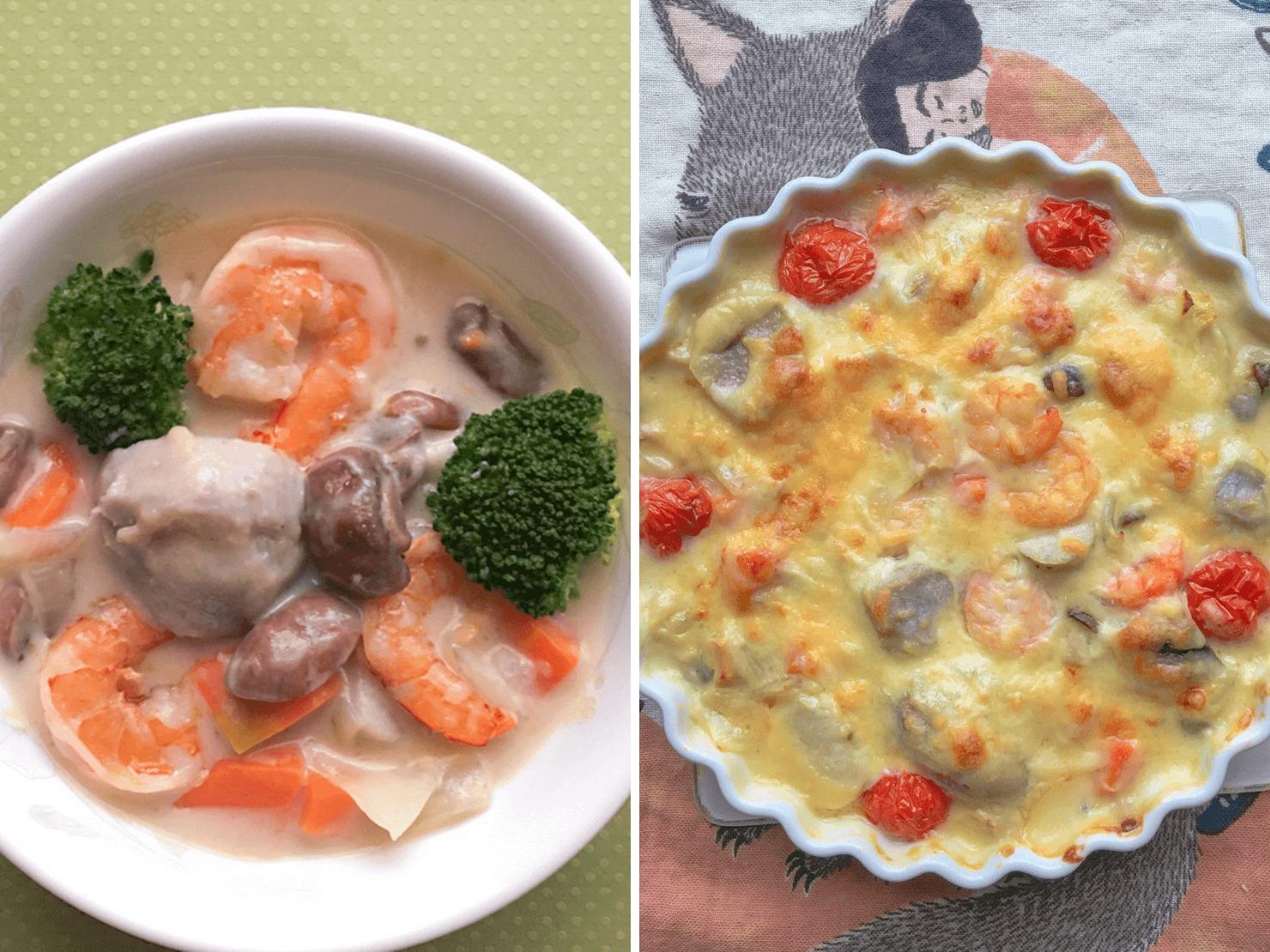 里芋のクリームシチューとリメイクグラタンの写真