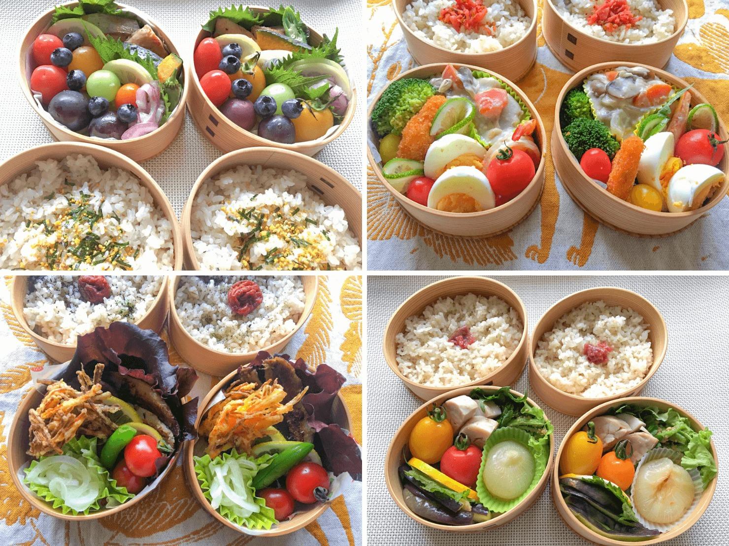 野菜たっぷりのお弁当の写真