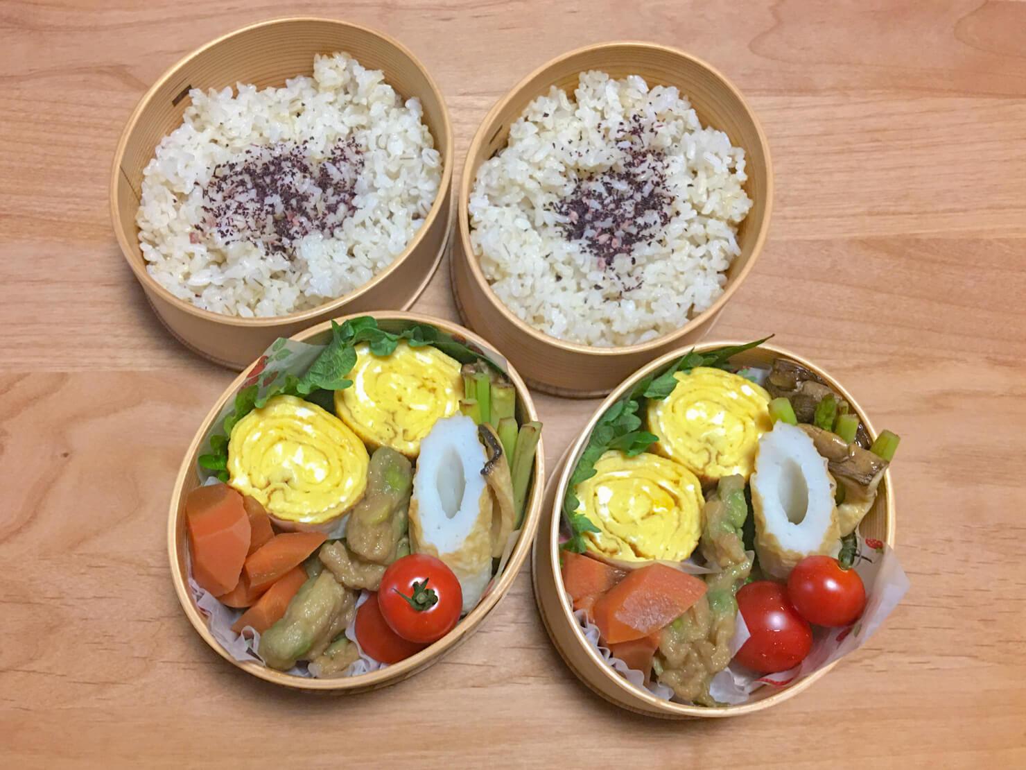 野菜の煮物入りお弁当の写真