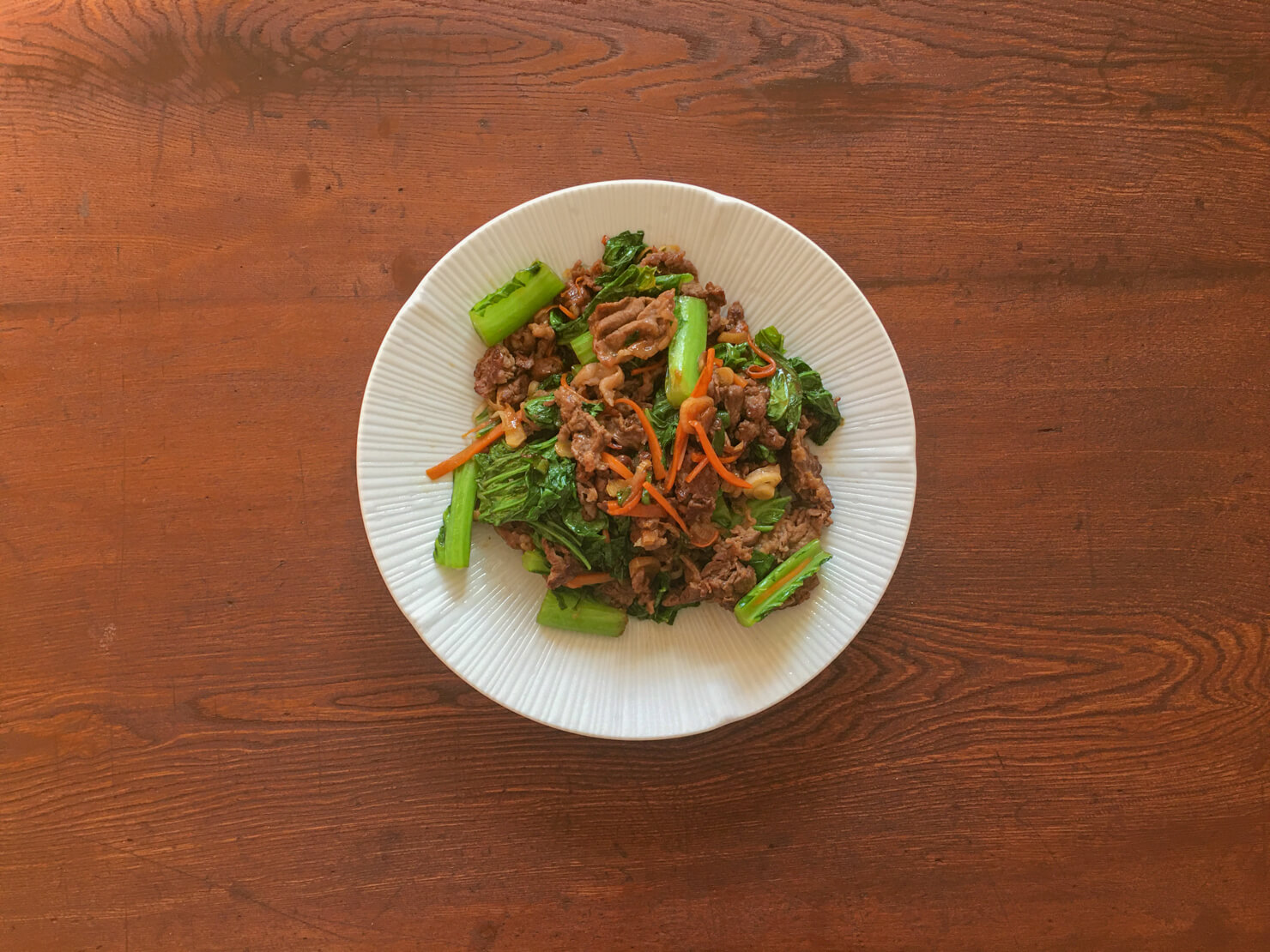 こぶ高菜と牛肉の甘辛炒めの写真