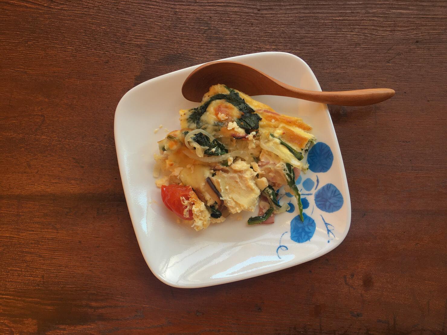 ヨーグルト漬け高野豆腐とベーコンのキッシュの写真