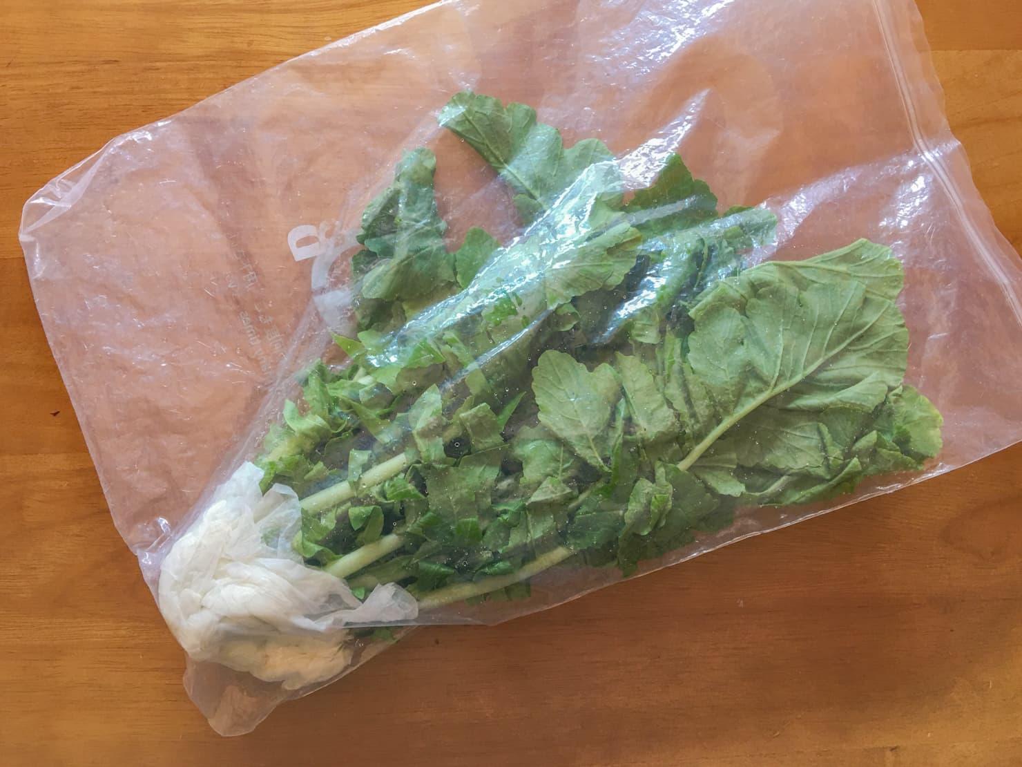 大根の葉が野菜保存袋に入っている写真1