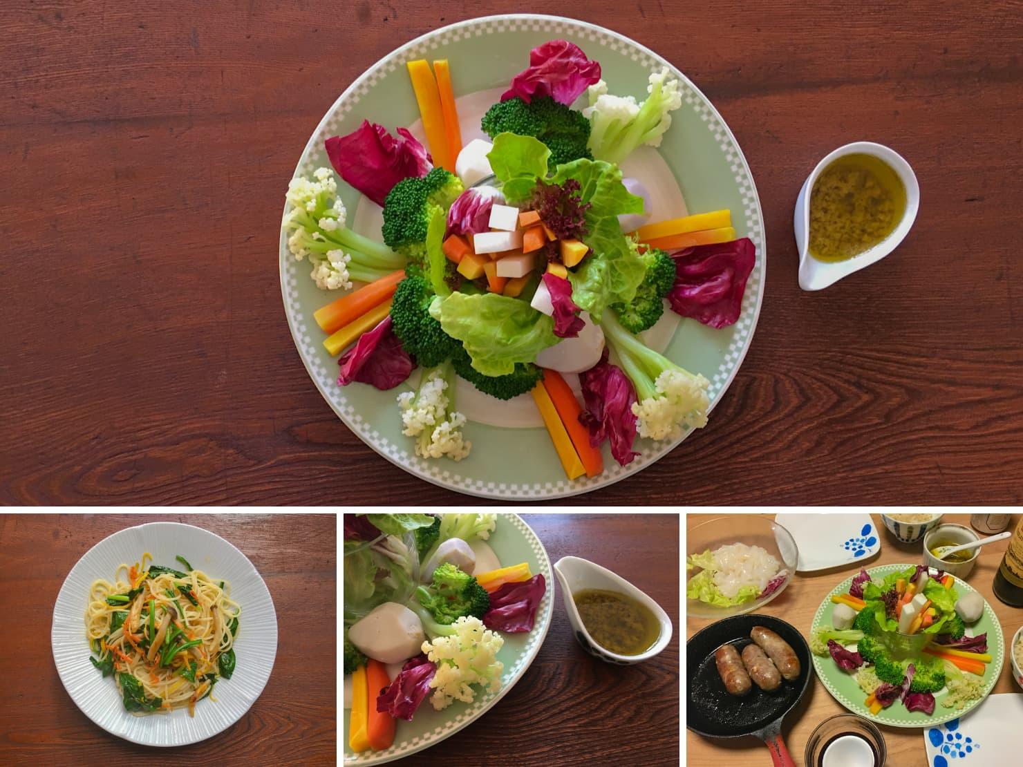 冬野菜のバーニャカウダとバーニャカウダソースのパスタの写真