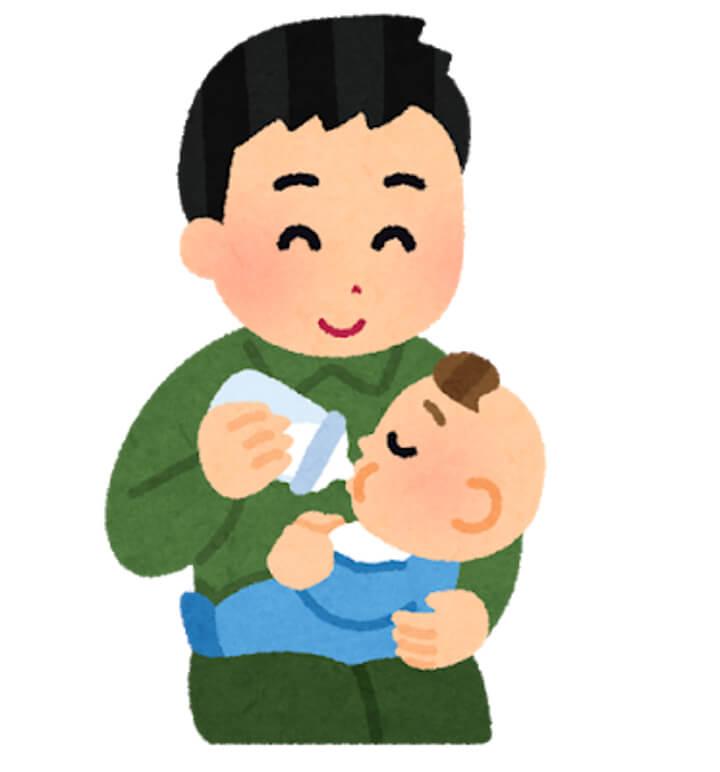 赤ちゃんと男性のイラスト