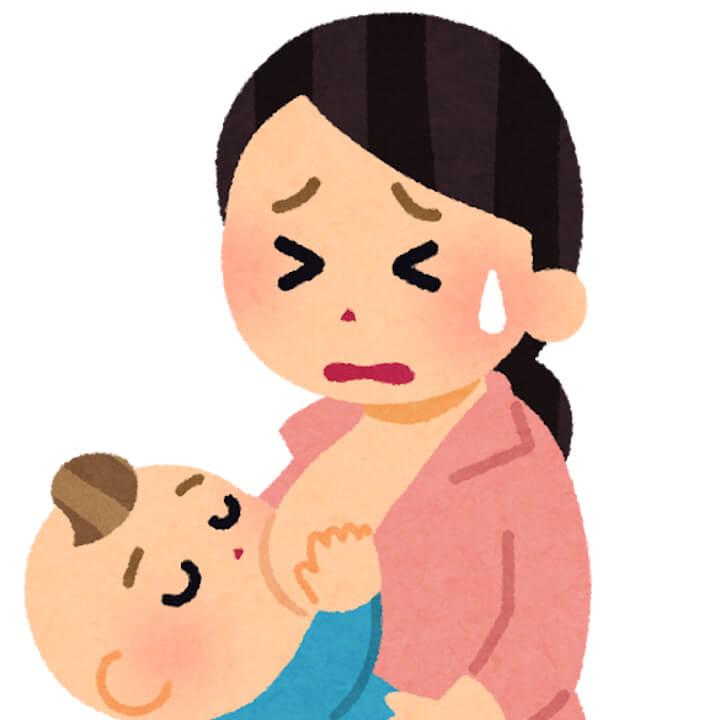 泣きながら授乳する女性のイラスト