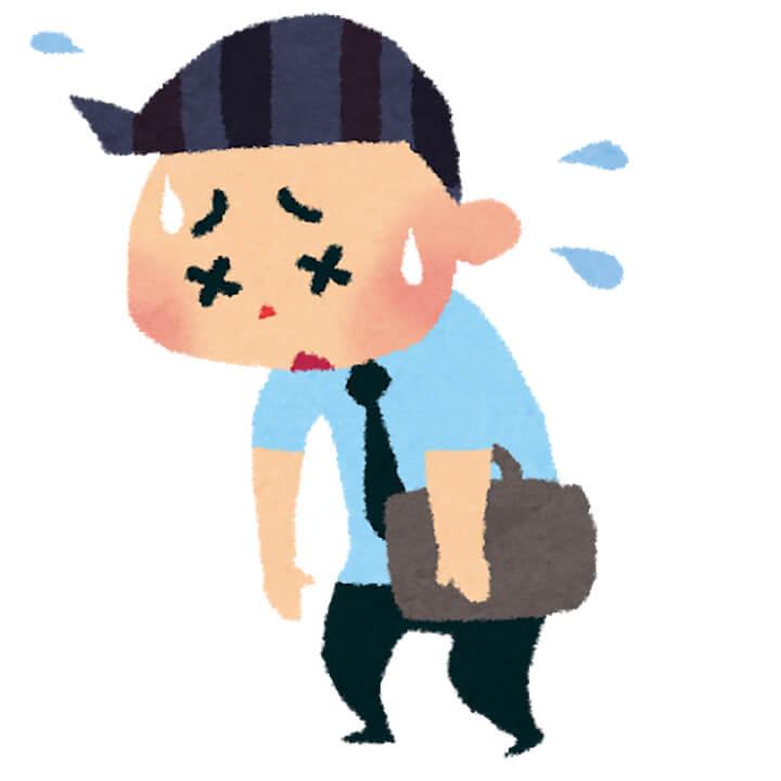 疲れ果てた男性のイラスト