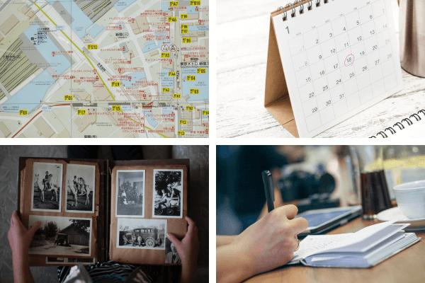 カレンダーと地図と写真のイラスト