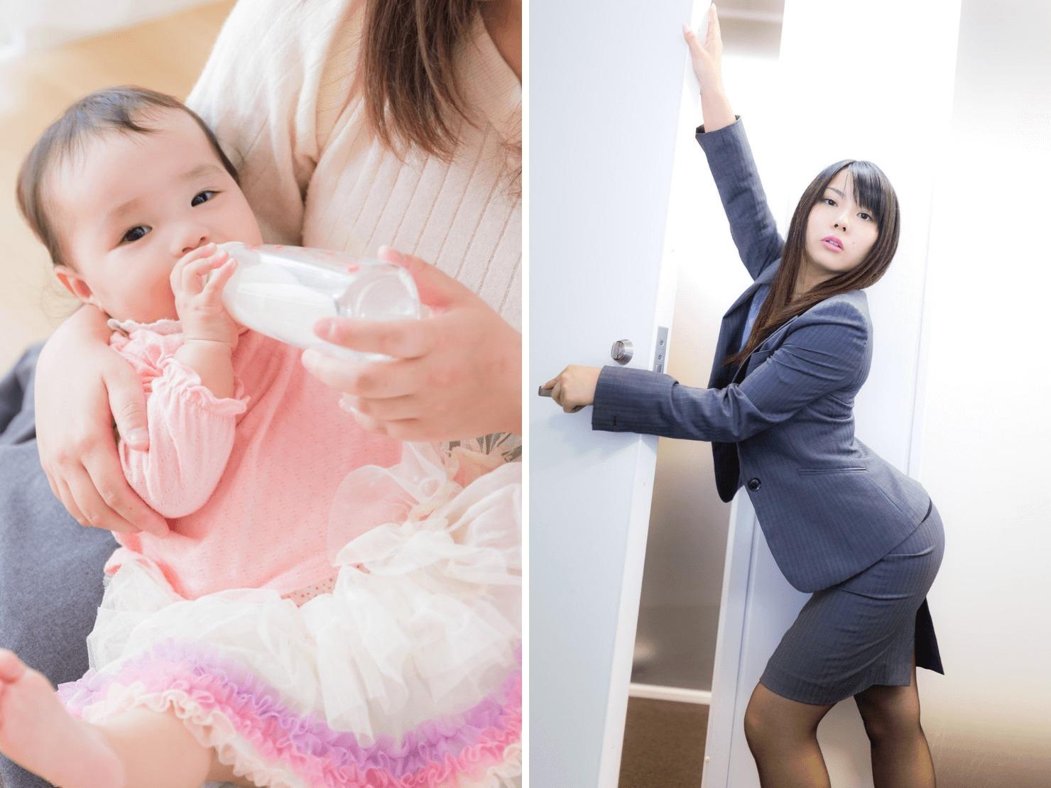 専業主婦と外で働く女性の写真
