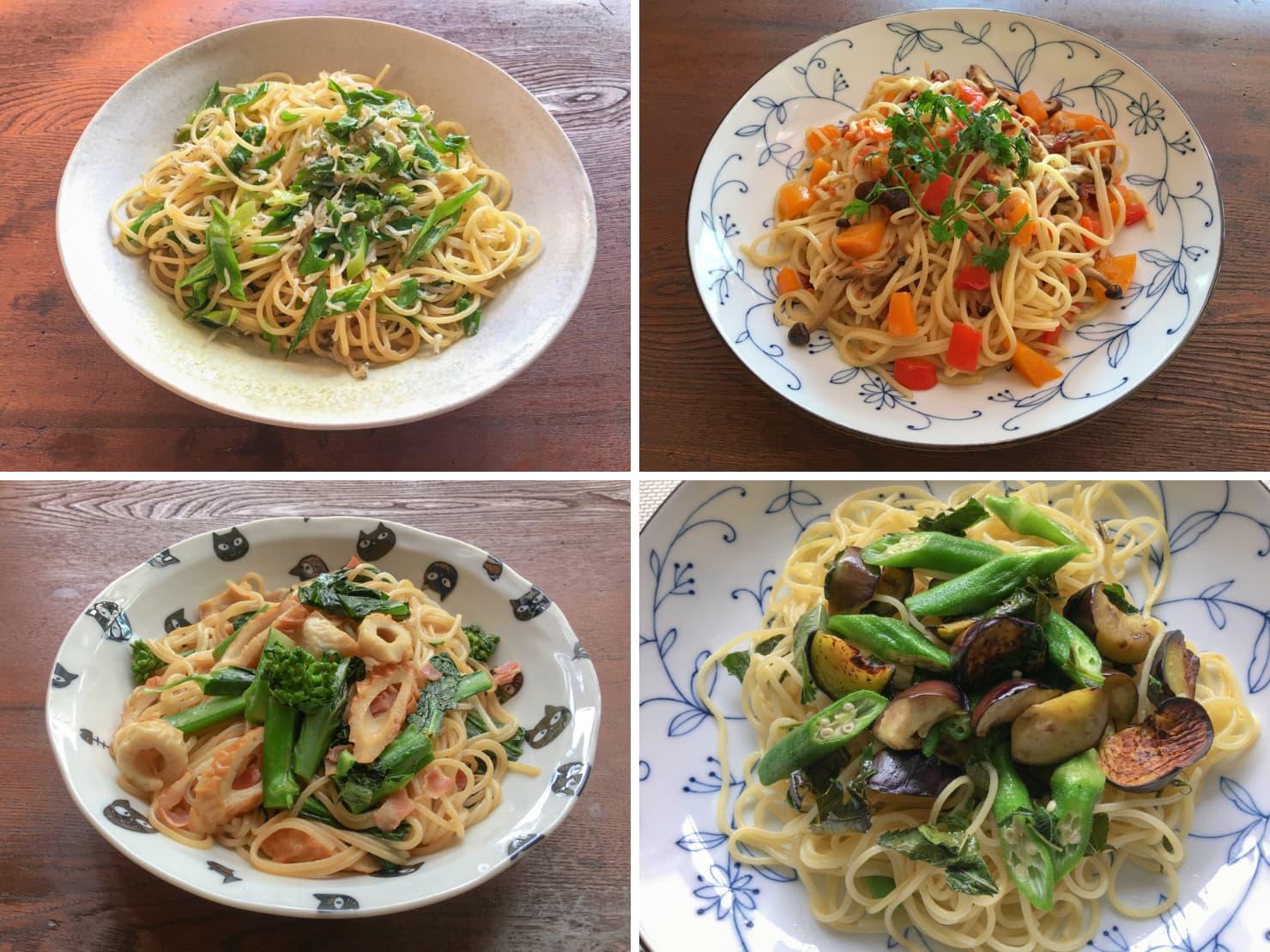 いろいろな野菜のオイルパスタの写真