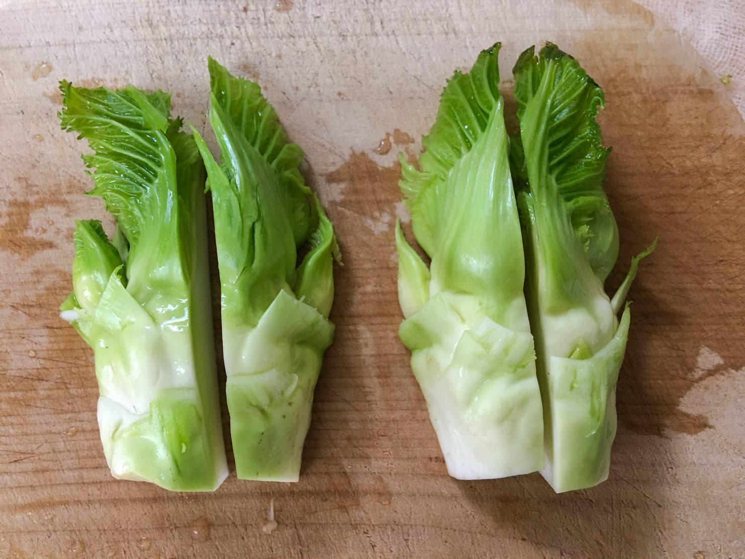 子持ち高菜を切ったところの写真