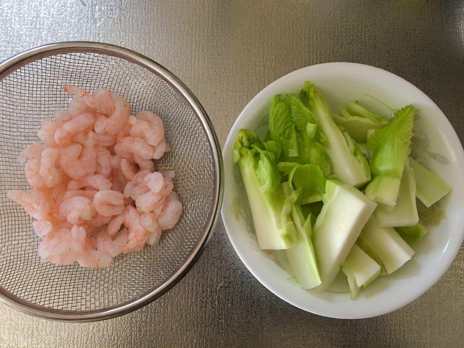 子持ち高菜と小エビの下処理後の写真